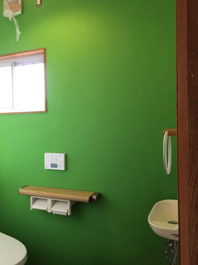 Diy シェアハウスのトイレの壁紙を塗装してみました リノベ